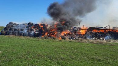 Photo of VIDEO| Incendiu pe câmp, la intrare în Marpod. 1.000 de baloți și 30 mc de lemn de foc, în flăcări
